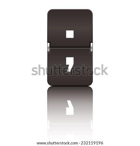 Black departure board letter semicolon from a series of flipboard letters. - stock vector
