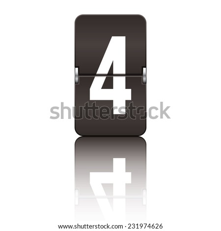Black departure board number 4 from a series of flipboard numbers. - stock vector