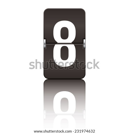 Black departure board number 8 from a series of flipboard numbers. - stock vector
