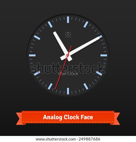 Black designer clock face with red seconds hand and blue dials. Flat style illustration or icon. EPS 10 vector. - stock vector