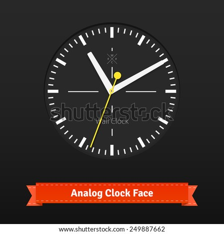 Black designer clock face with yellow seconds hand. Flat style illustration or icon. EPS 10 vector. - stock vector