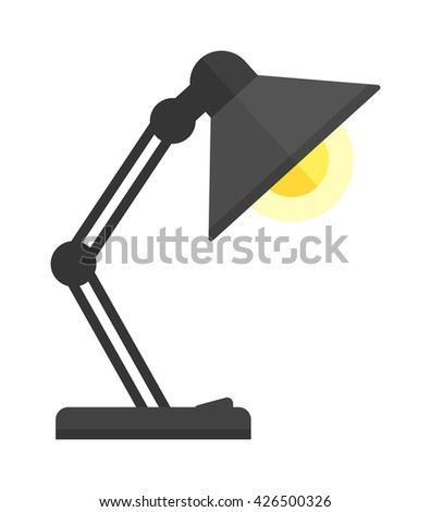 Black desk lamp isolated on white background. Black lamp vector and light lamp power energy design. Black lamp electricity light electric object. Flat illuminated metal interior lamp. - stock vector