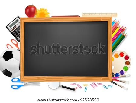 Black desk with school supplies. Vector. - stock vector
