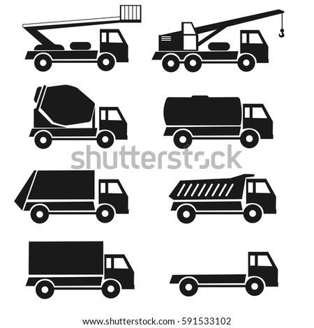 orange construction cars collection industrial truck stock vector 591479903 shutterstock. Black Bedroom Furniture Sets. Home Design Ideas