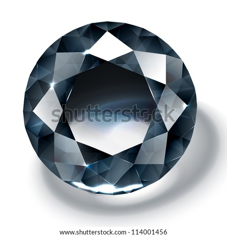 Black diamond realistic illustration - stock vector