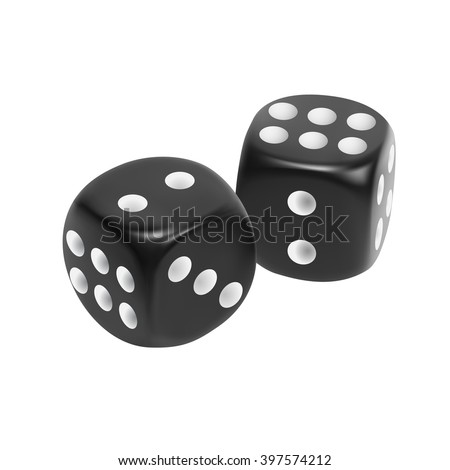 Black dice isolated on white background. EPS10 vector. - stock vector