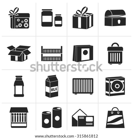 Black different kind of package icons - vector icon set - stock vector