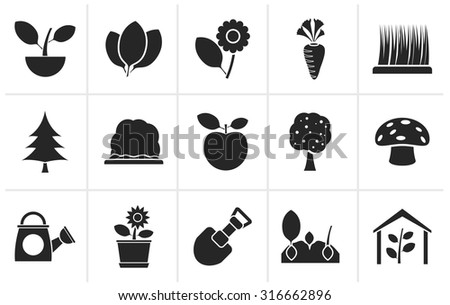 Black Different Plants and gardening Icons - vector icon set  - stock vector