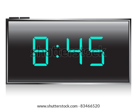 black digital lcd alarm clock - stock vector