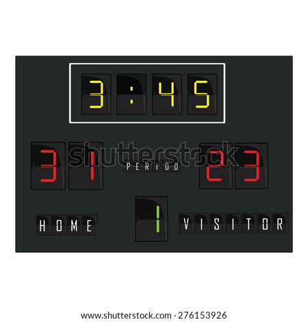 Black digital scoreboard with time, home and visitor score, round vector. Basketball scoreboard, football scoreboard, soccer scoreboard