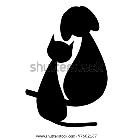 Black dog and cat - stock vector
