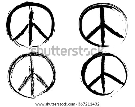 black doodle grunge peace sign - stock vector