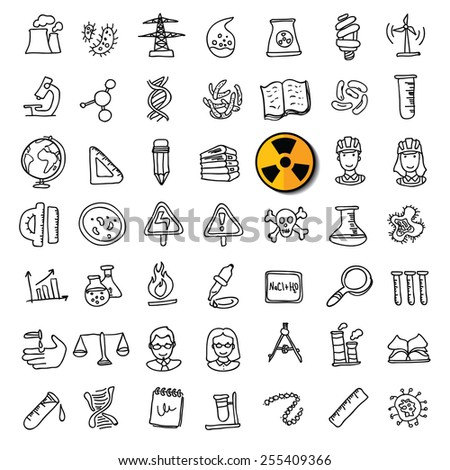 Black doodle science icons set - stock vector