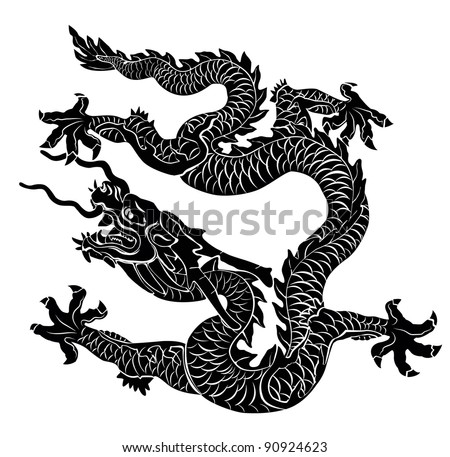 Black dragon isolated. Vector illustration