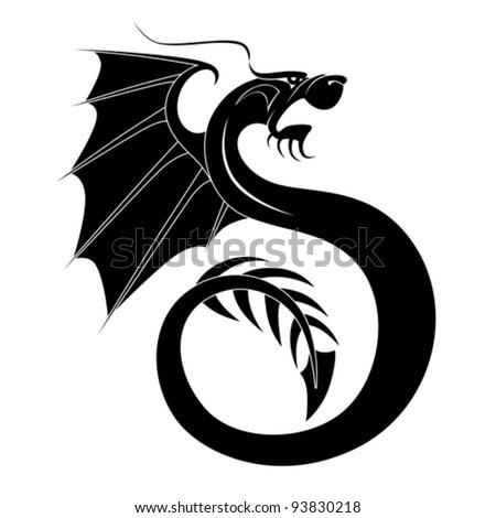 Black dragon tattoo 4 - stock vector