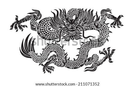 black dragon vector - stock vector