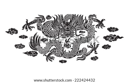 black dragon with cloud and line chinese - stock vector