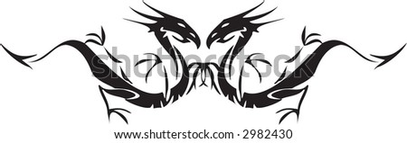 black dragons - stock vector
