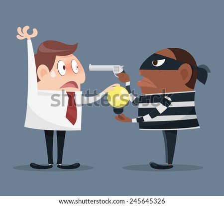 Black dressed man with gun, idea robbery - stock vector