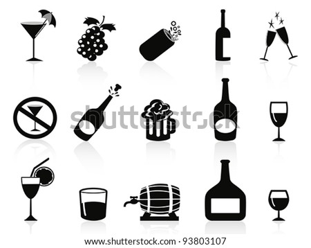 black drinks and beverages icons - stock vector