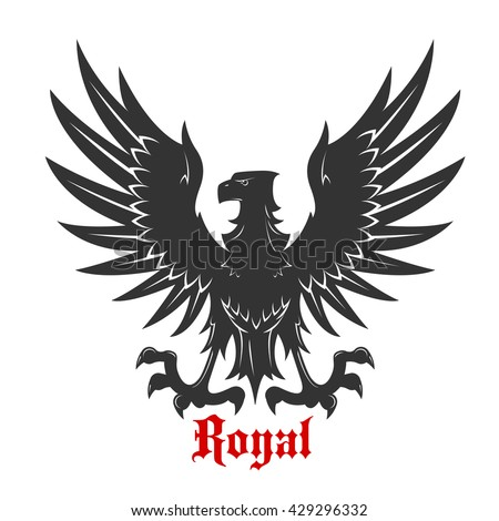 Black eagle royal heraldic symbol with medieval stylized bird floating in the air with wings spread and outstretched talons ready to catch prey - stock vector