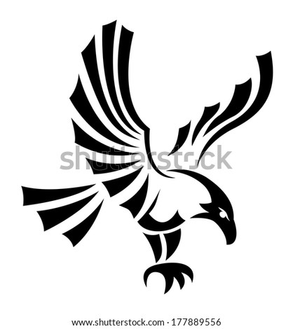 Black eagles isolated on white background for mascot or emblem design, also a tatoo. - stock vector