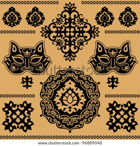 black east decorative pattern on the beige background - stock vector