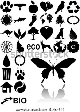 black eco icons - stock vector
