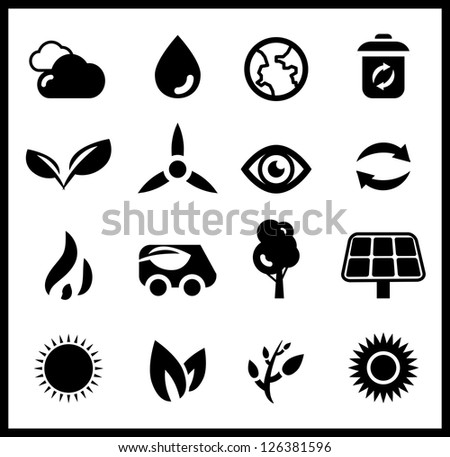 Black ecology icons | vector icon set - stock vector
