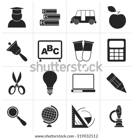 Black education and school icons - vector icon set - stock vector