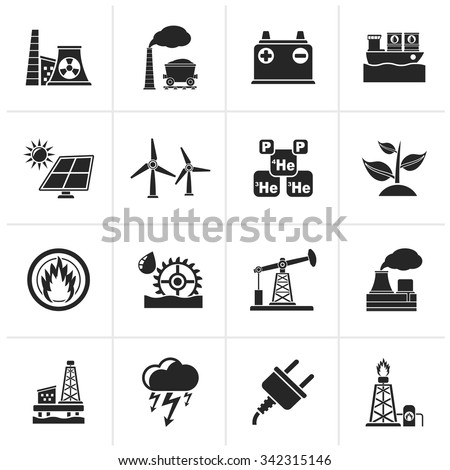 Black Electricity and Energy source icons - vector icon set - stock vector