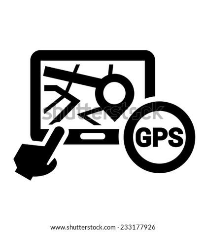 Black Elegant Navigation Icon on white background. - stock vector