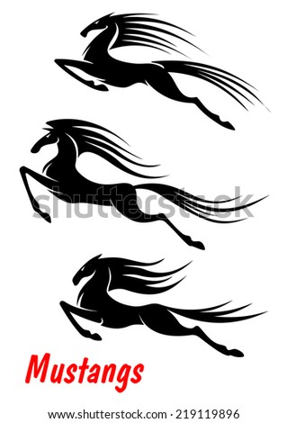 Black elegant wild horse mustangs and stallions in rush for equestrian sport, mascot and tattoo - stock vector