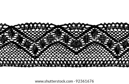 Black endless lace stripe - stock vector