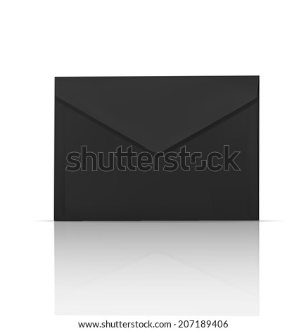 Black envelope realistic vector icon - stock vector