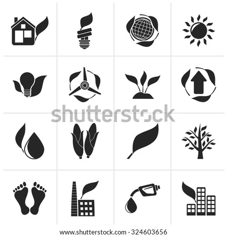 Black environment and nature icons - vector icon set - stock vector