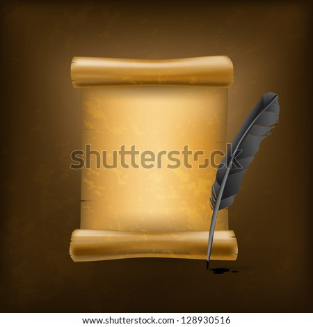 black feather and old scroll - stock vector