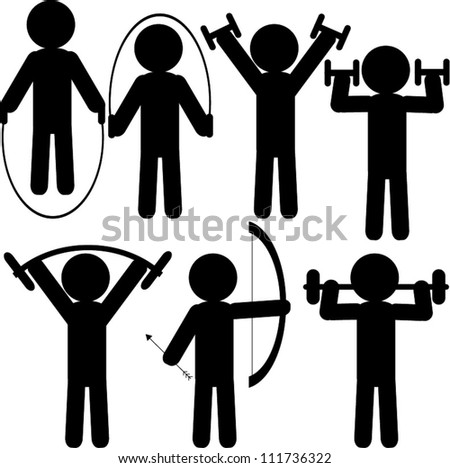Black figure icons - sport - stock vector