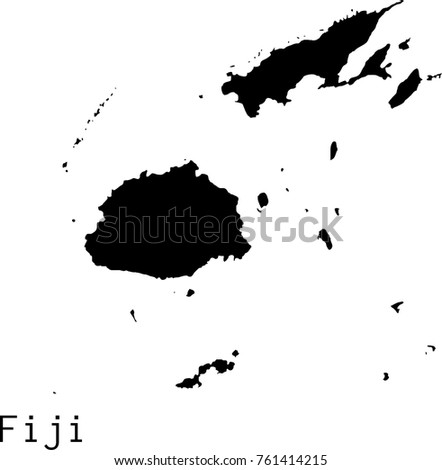 Black Fiji Islands Map Vector Silhouette Stock Vector (Royalty Free ...