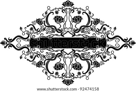 Black filigree floral banner - stock vector
