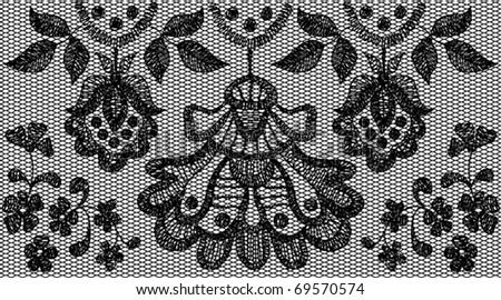Black fine lace floral seamless pattern. Vector illustration.
