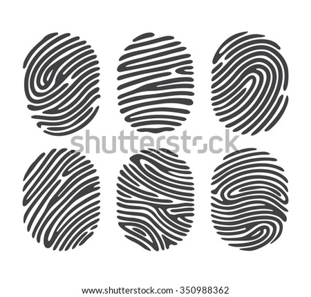 Black finger print set isolated on white background. Elements of identification systems, security conception, apps icons. Vector illustration. - stock vector