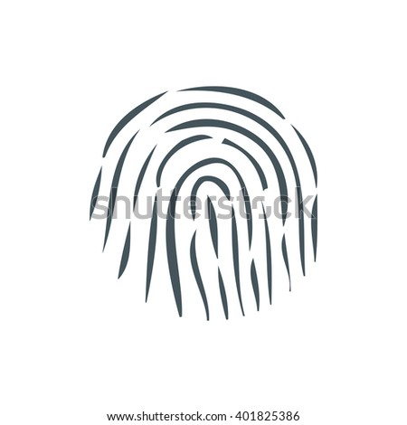 Black fingerprint i white background. Icon for mobile phone in flat style. Identification of individuals by fingerprints. Vector illustration
