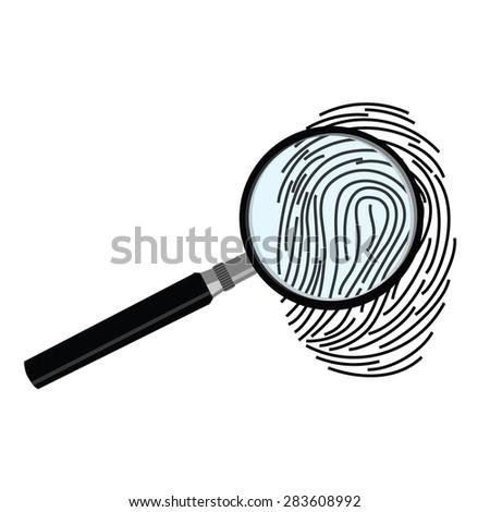 Black fingerprint through magnifying glass vector illustration. Criminalistics research - stock vector