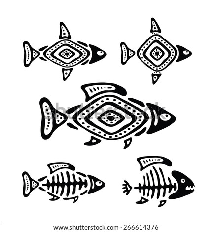 black fish in the native style, vector illustration - stock vector