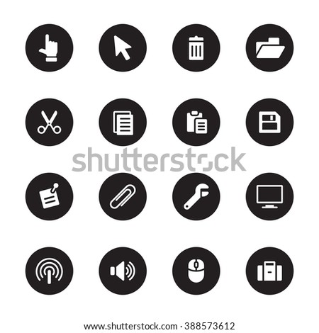 black flat computer and technology icon set on circle for web design, user interface (UI), infographic and mobile application (apps) - stock vector