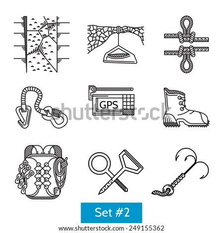 Black flat line icons vector collection of accessories for rock climbing and alpinism on white background. - stock vector