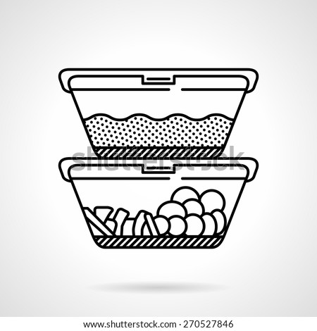 Black flat line vector icon for two lunch boxes or containers with food on white background. - stock vector
