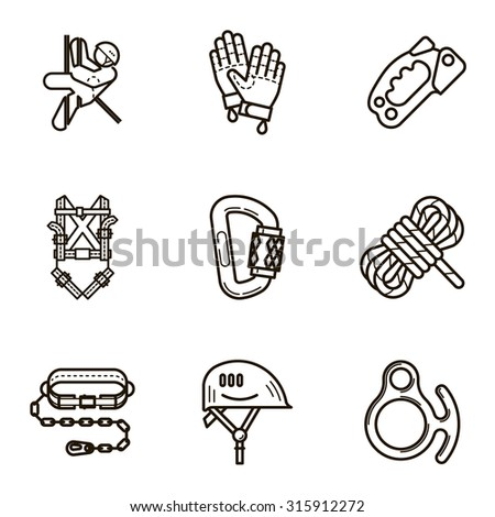 Black flat line vector icon set with a picture of Equipment for industrial mountaineering on white background. - stock vector