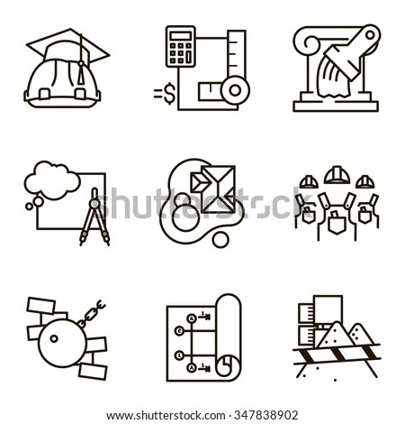 Black flat line vector set icon with a picture of a symbol construction engineering build  on white background. - stock vector
